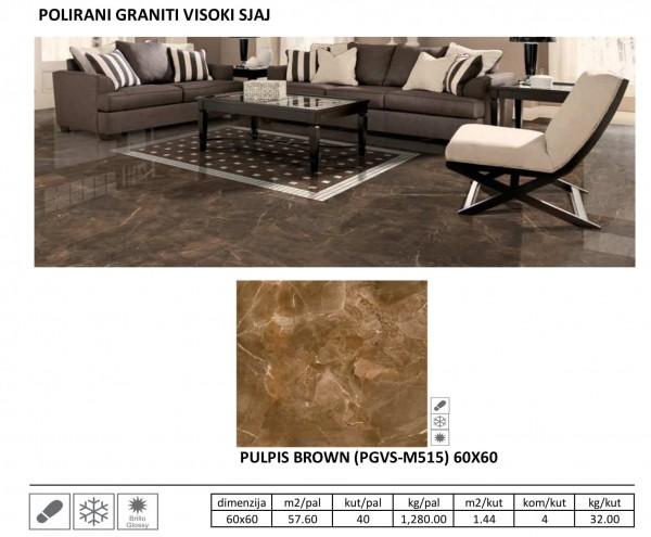 MIN-POL.GRANIT PULPIS BROWN PGVS-M515 RETT 60X60